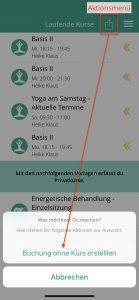 iOS - Buchung ohne Kurs erstellen